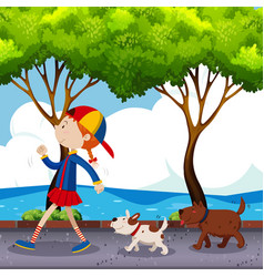 Girl and two dogs walking on street vector