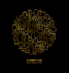 golden fashion and shopping concept with clothes vector image