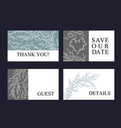Greeting card set made of hand drawn branches vector