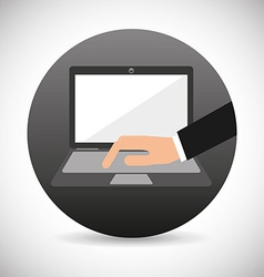 hand on device design vector image