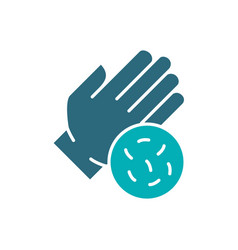 Hand with bacteria colored icon hygiene human vector