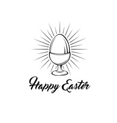 Happy easter greeting card egg holder egg-cup vector