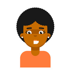 happy facial expression of black girl avatar vector image