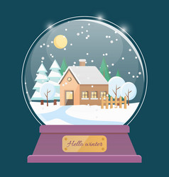 Hello winter snow globe with house in village vector
