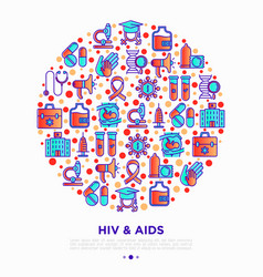 Hiv and aids concept in circle with thin line icon vector