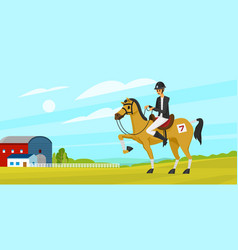 horseback riding poster or banner racing icons vector image