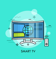 hybrid or smart tv displaying content from website vector image