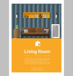 Interior design Modern living room banner 3 vector image