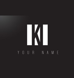 ki letter logo with black and white negative vector image