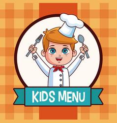 kids menu cartoon vector image