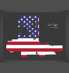las vegas nevada map with american national flag vector image