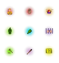 Lawlessness icons set pop-art style vector