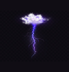 Lightning thunderbolt realistic cloud vector