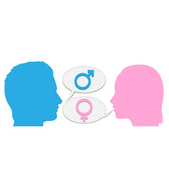 Man and woman conversation silhouette vector