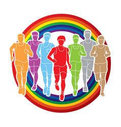 Marathon runners group of people running men run vector