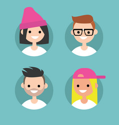 Millennials profile pics set of flat portraits vector