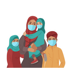 Mother father daughter and son wear medical masks vector