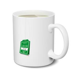 Mug green tea white realistic isolated 3d vector