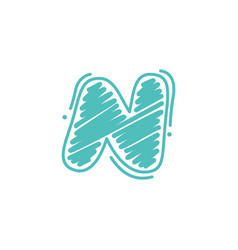 N letter logo in childish wax crayons scribbles vector