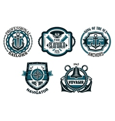 Nautical retro blue emblems with maritime symbols vector image