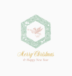 new year and christmas sketch hexagon pine wreath vector image