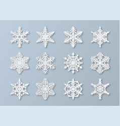 paper snowflakes new year and christmas papercut vector image