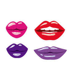 realistic lips in several colors on white vector image