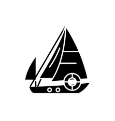 sailboat black icon sign on isolated vector image
