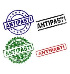 Scratched textured antipasti stamp seals vector
