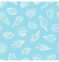 Seamless pattern with doodle seashells vector image
