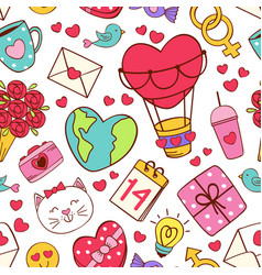 Seamless pattern with love icons vector