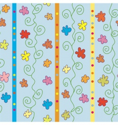 seamless striped pattern with flowers vector image
