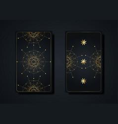 Set magical tarot cards gold magic sacred geometry vector