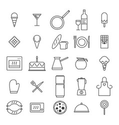 set simple kitchen food nad drink icons in vector image