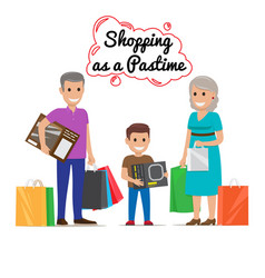Shopping as pastime for your family cartoon vector