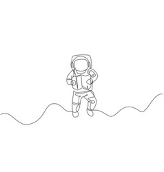single continuous line drawing floating science vector image