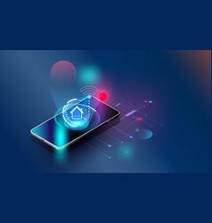smartphones security controls futuristic smart vector image