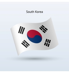 South Korea flag waving form vector