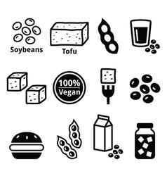 Soy beans soya tofu icons set vector