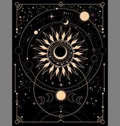 Space esoteric composition sun moon vector