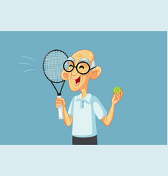 sporty grandpa playing tennis holding racket vector image