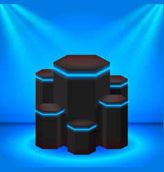 Stage black podium with neon lines and lighting vector