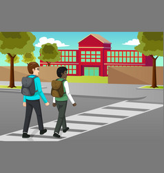 Students crossing the street to schooll vector