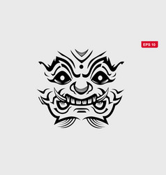 Thai giant monster logo outline design for poster vector