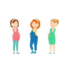 Three pregnant women enjoy music vector