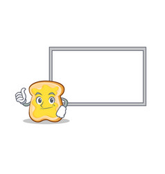 thumb up with board slice bread cartoon character vector image