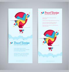travel design flyer paper hot air balloon concept vector image vector image