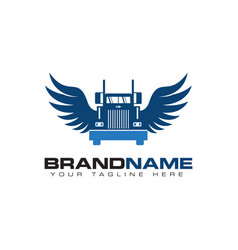 truck transportation with wing logo design vector image