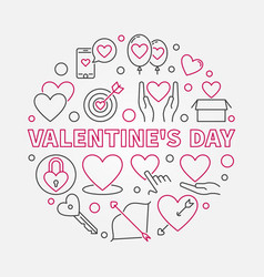 valentines day round in thin vector image