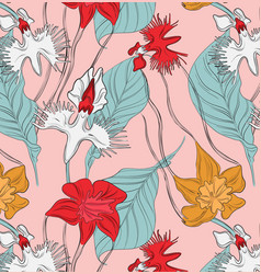 Vintage abstract botanical with red vector